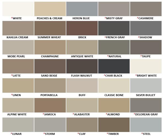 Hydroment Colored Caulk Color Chart