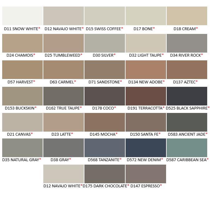 Merkrete Silicone Caulk Color Chart