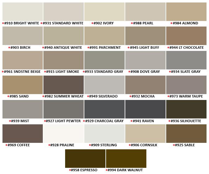 TEC Silicone Colored Caulk Color Chart